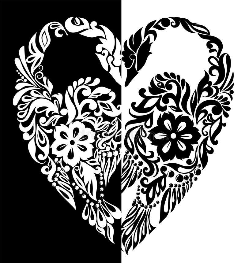 Черно-белые лебеди от цветков, листьев и скручиваемостей в форме сердца иллюстрация вектора
