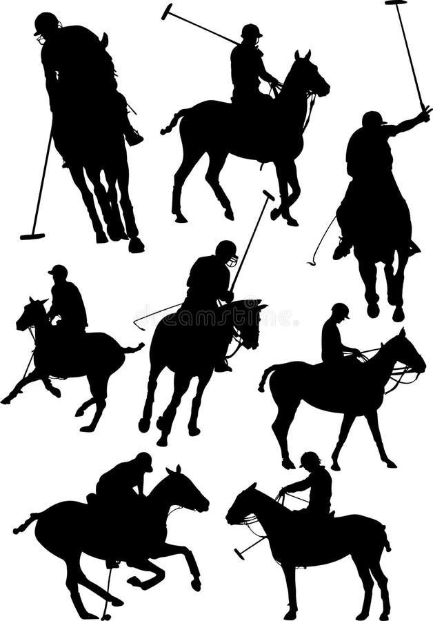 Черно-белые игроки поло иллюстрация штока