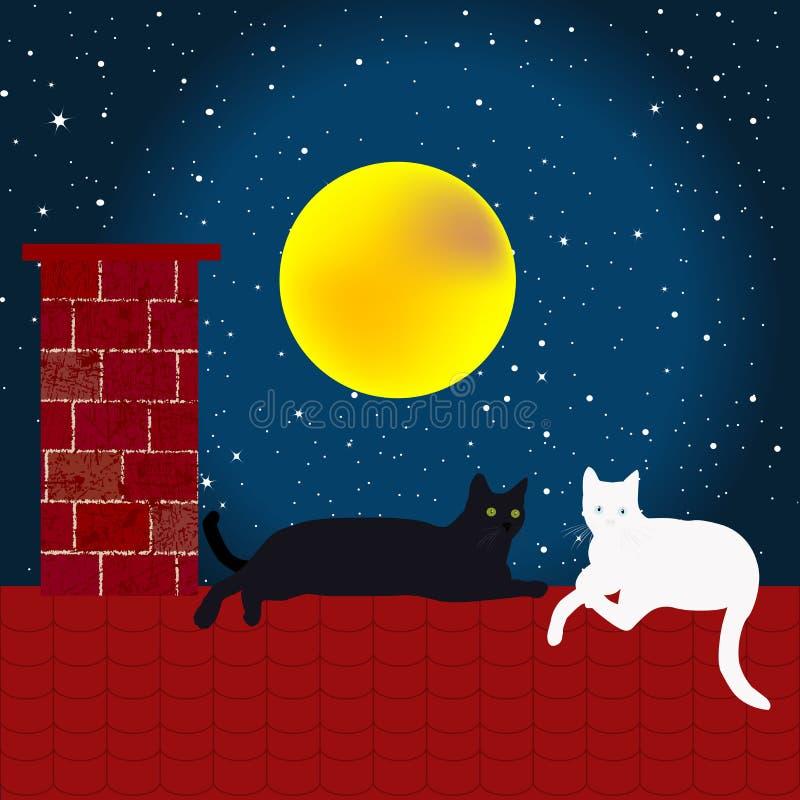 Черно-белые коты на крыше бесплатная иллюстрация
