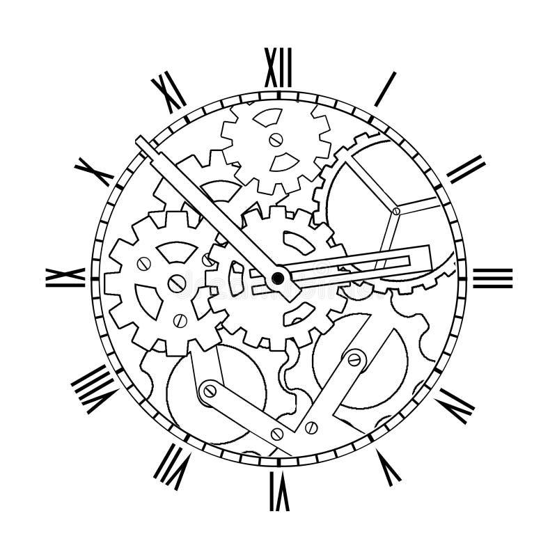Черно-белые механически часы стоковое изображение rf