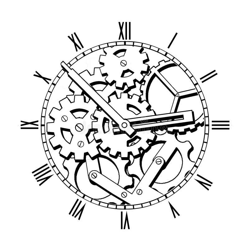Черно-белые механически часы стоковая фотография