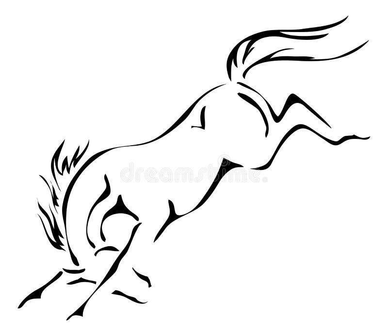 Черно-белые планы вектора bucking лошади иллюстрация вектора