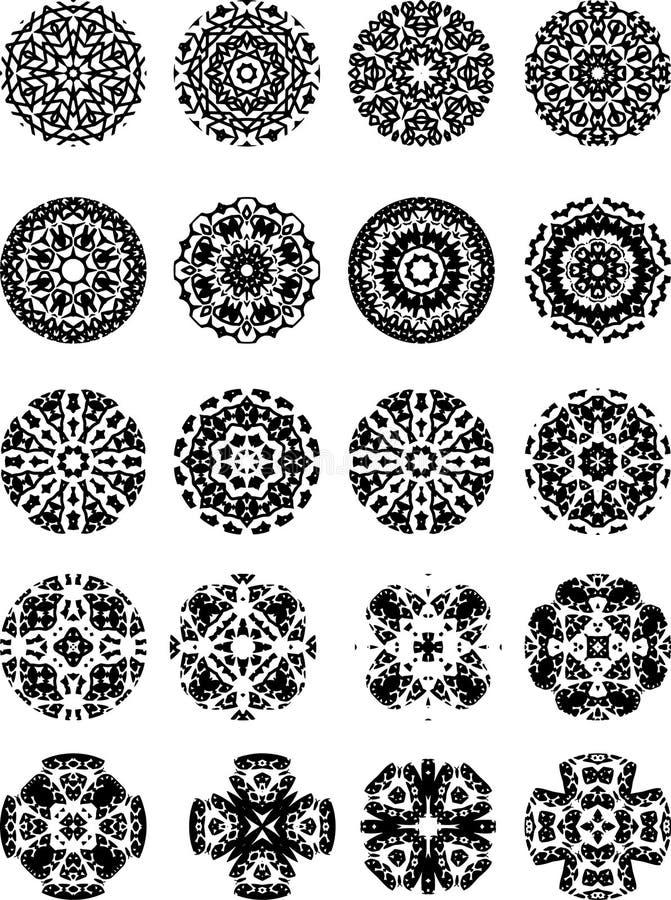 Черно-белые снежинки и звезды вектора стоковое изображение rf
