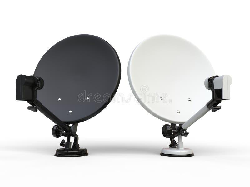 Черно-белые спутниковые антенна-тарелки ТВ бесплатная иллюстрация