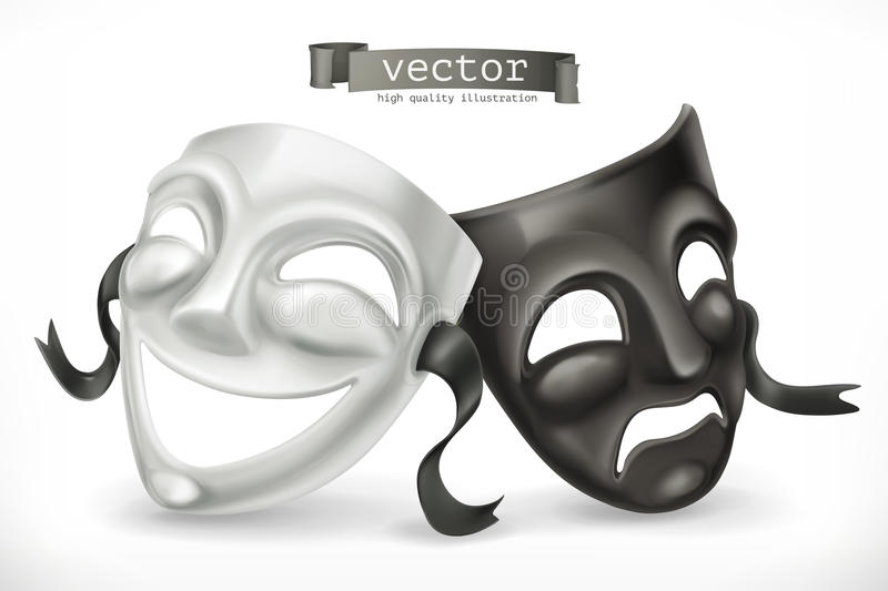 Черно-белые театральные маски Комедия и трагедия, значок вектора иллюстрация вектора