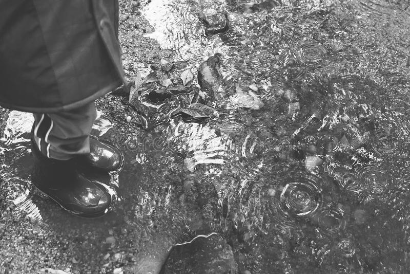 Черно-белые лужицы с ботинками дождя стоковое фото rf