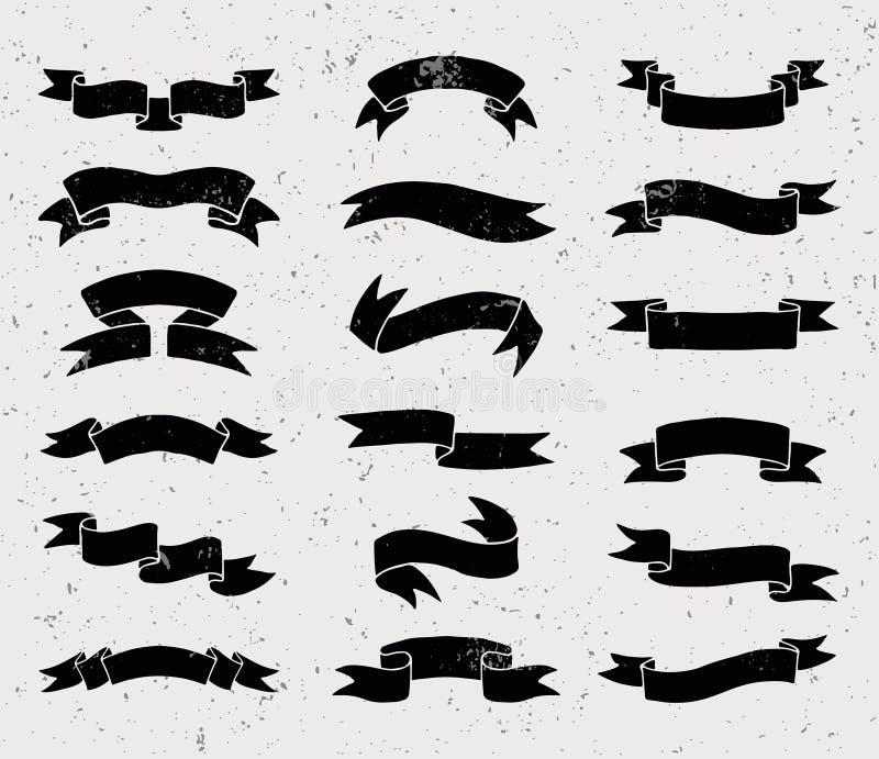 Черно-белые установленные ленты иллюстрация штока