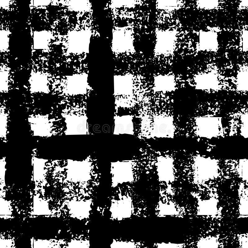 Черно-белые checkered чернила холстинки покрасили картину grunge безшовную, вектор иллюстрация штока