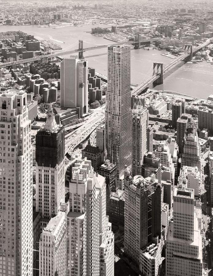 Черно-белый вид с воздуха городского Нью-Йорка стоковая фотография rf