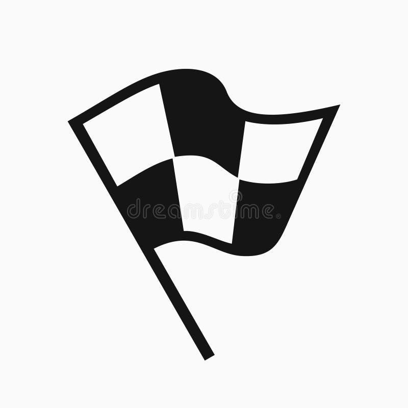 Черно-белый значок флага гонок иллюстрация вектора