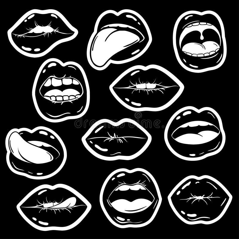 Картинки черно белые для распечатки губы