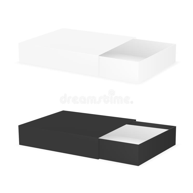 Черно-белый раскрытый картон пакета соответствует коробке иллюстрация штока