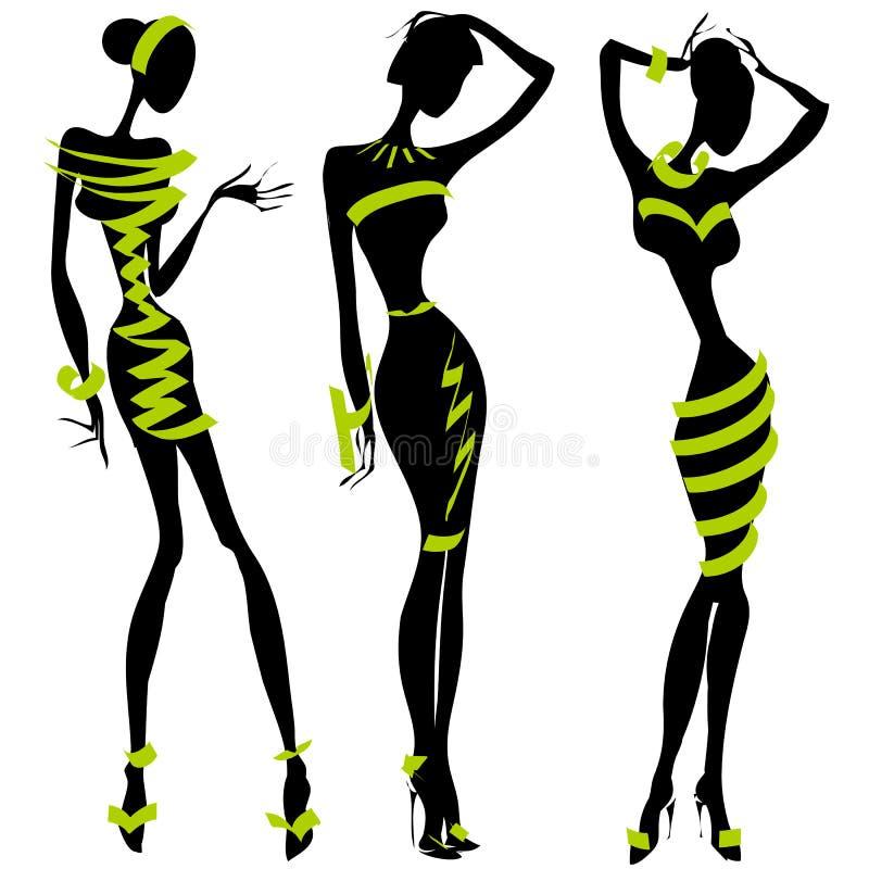 Черно-белый силуэт моды иллюстрация вектора