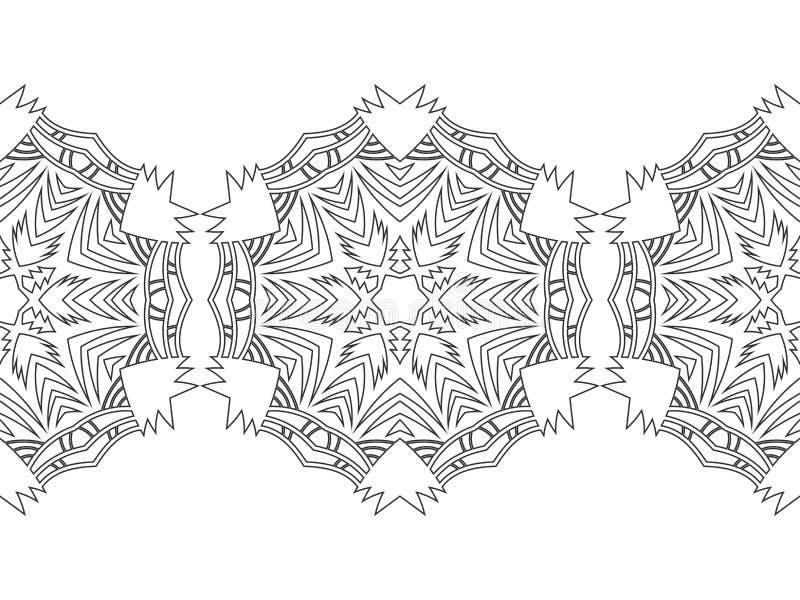 Черно-белый силуэт снежинок Шнурок, круглый орнамент и декоративная граница иллюстрация иллюстрация штока