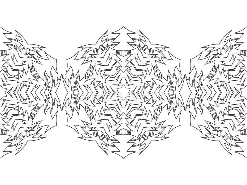 Черно-белый силуэт снежинок Шнурок, круглый орнамент и декоративная граница иллюстрация иллюстрация вектора