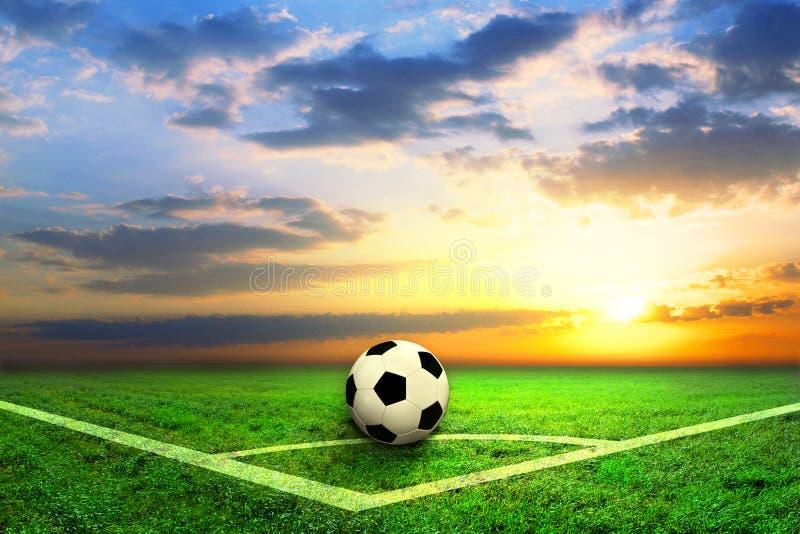 Черно-белый футбольный мяч на поле стоковые изображения rf