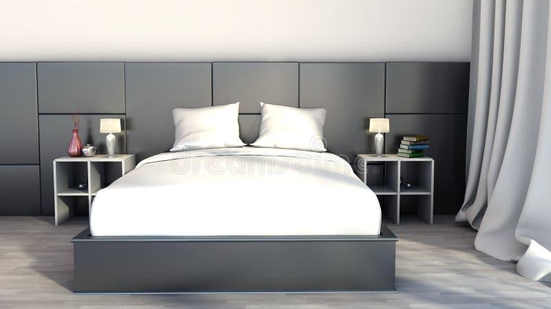 Черно-белый цвет в спальне иллюстрация вектора