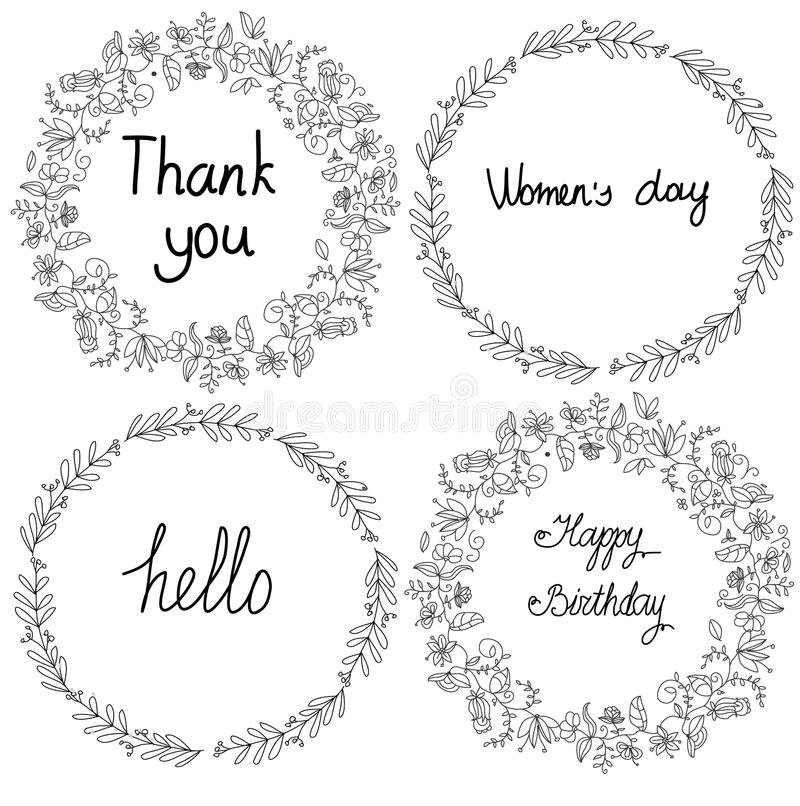 Черно-белый чертеж венков и цветков в круге с словами бесплатная иллюстрация