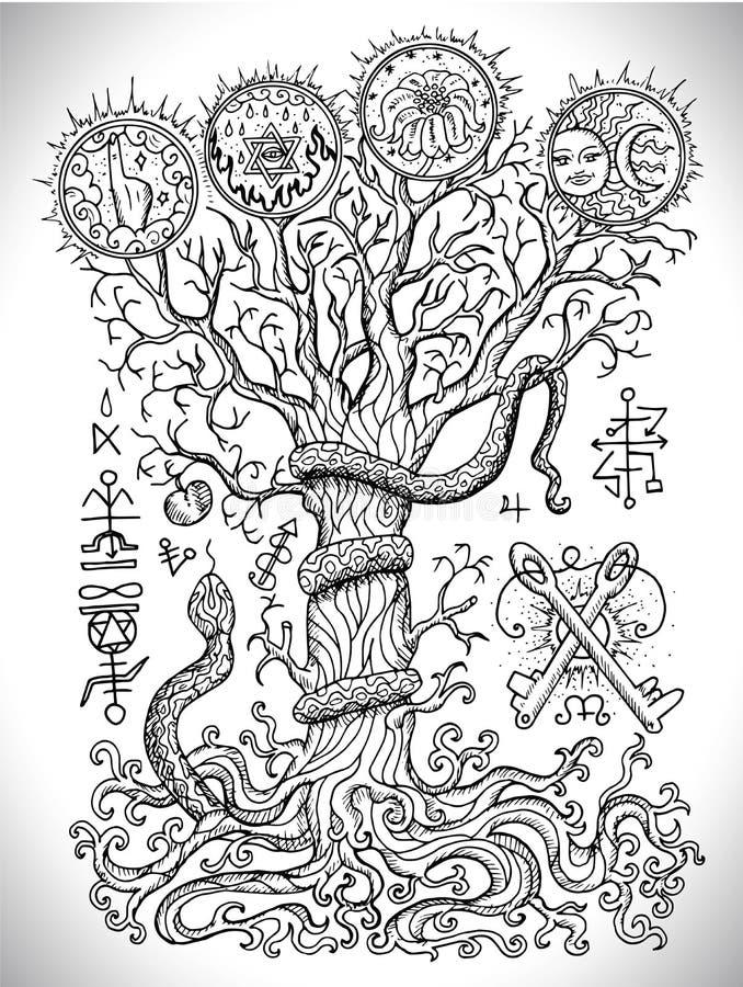 Черно-белый чертеж с мистическими и христианскими религиозными символами как змейка, дерево знания и запретный плод бесплатная иллюстрация