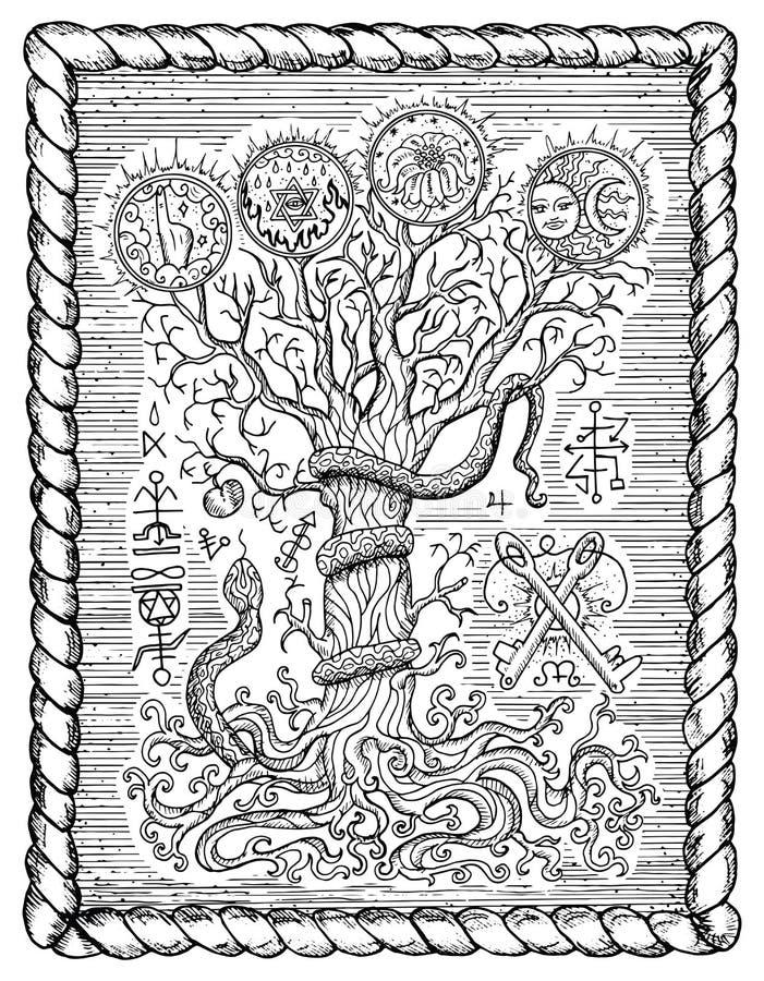 Черно-белый чертеж с мистическими и христианскими религиозными символами как змейка, дерево знания и запретный плод в рамке иллюстрация штока
