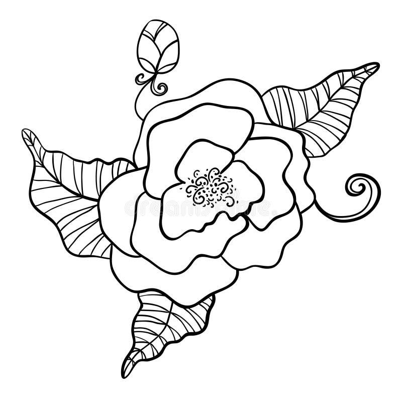 Черно-белый чертеж цветка бесплатная иллюстрация