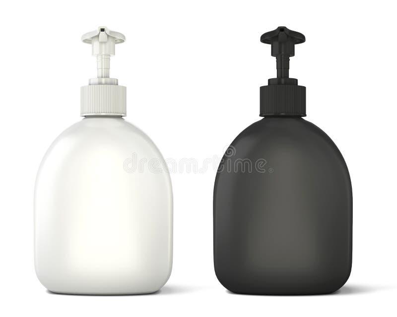 Черно-белый шаблон бутылок для мыла иллюстрация штока