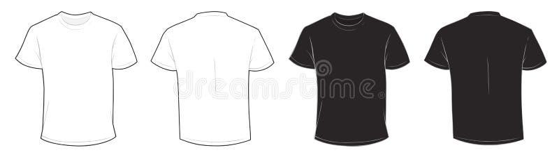 Черно-белый шаблон футболки иллюстрация вектора