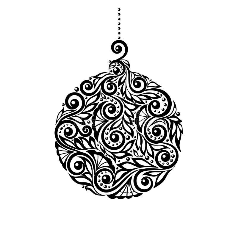 Черно-белый шарик рождества с флористическим desig иллюстрация вектора