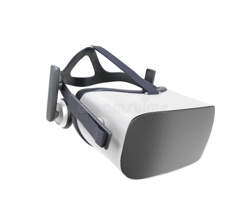 Черно-белый шлемофон виртуальной реальности VR изолированный на белом Bac иллюстрация штока