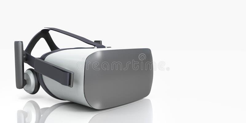 Черно-белый шлемофон виртуальной реальности VR изолированный на белом Bac бесплатная иллюстрация