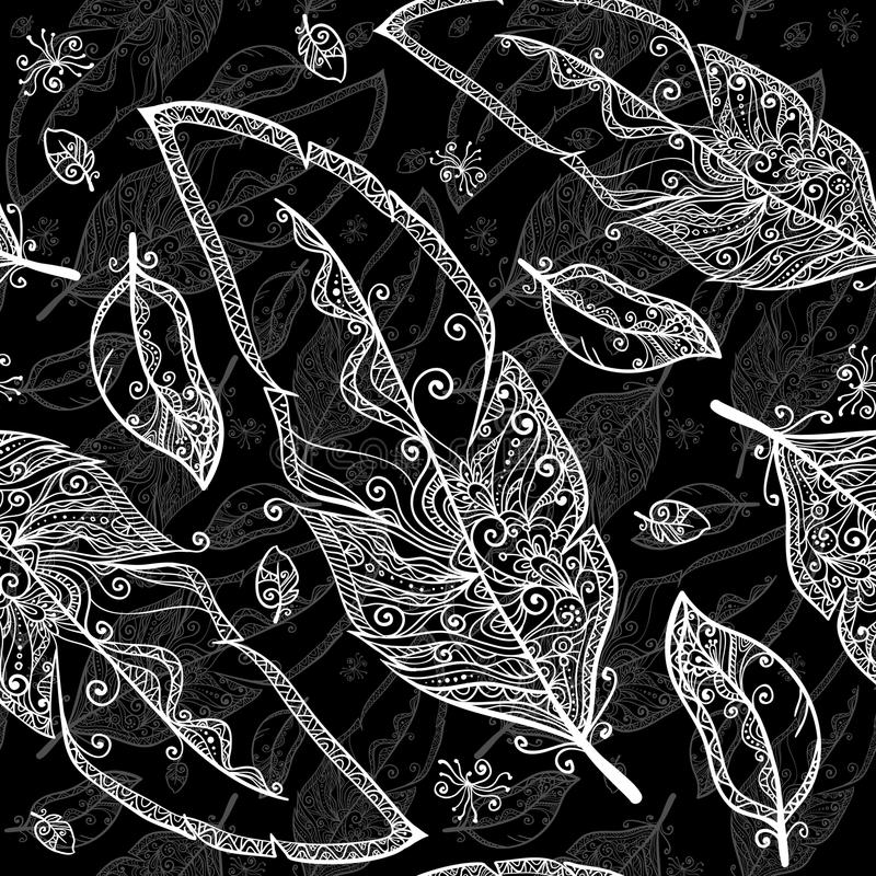 Черно-белый doodle оперяется безшовная картина бесплатная иллюстрация