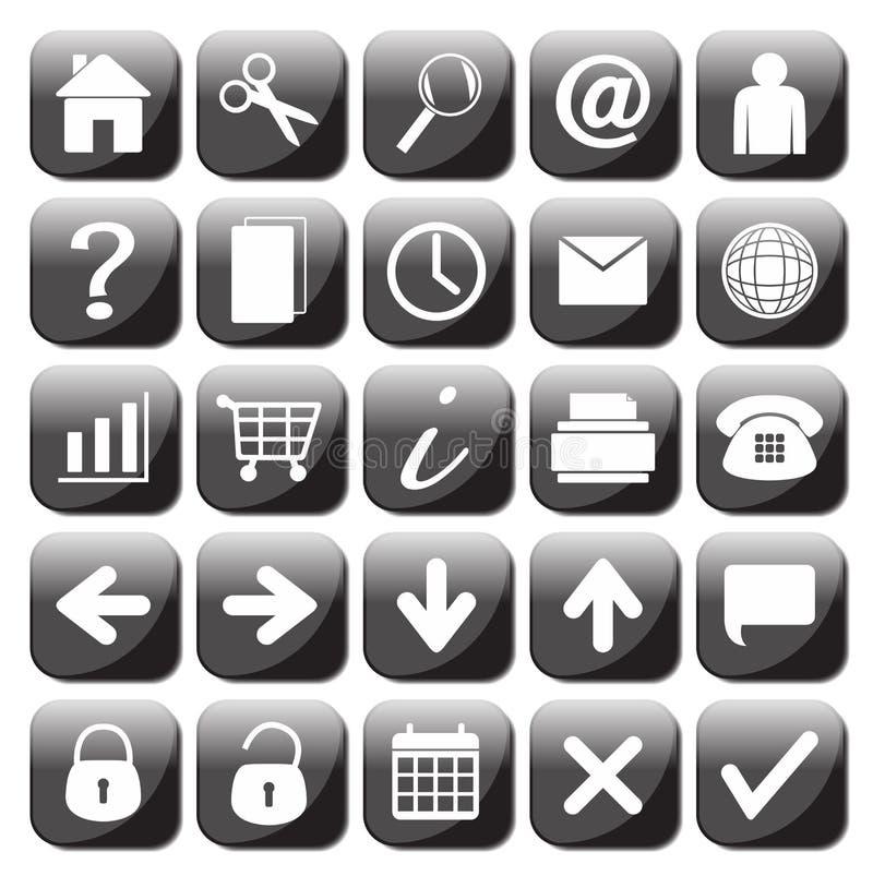 25 черно-белых установленных значков сети бесплатная иллюстрация