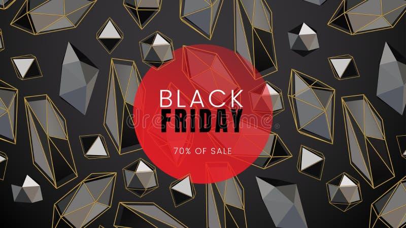 Черную пятницу, предпосылку конспекта продажи темную с абстрактными формами и красными контурами круга и полигональных, можно исп иллюстрация штока