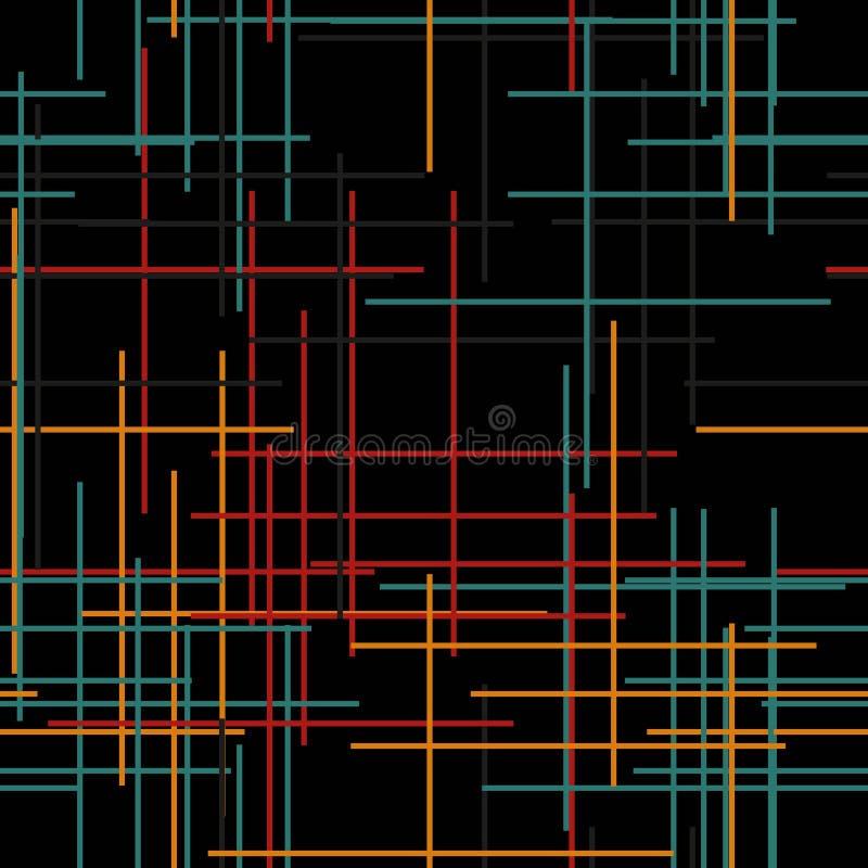 Черные абстрактные безшовные линии предпосылки в современном стиле на темной предпосылке иллюстрация вектора
