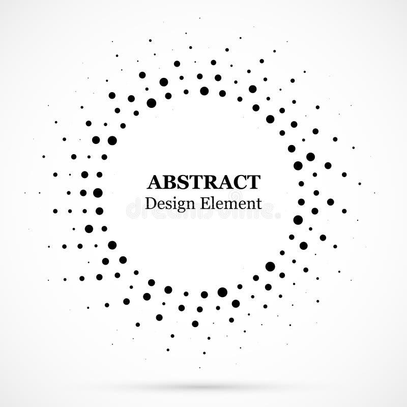 Черные абстрактные точки полутонового изображения рамки круга вектора конструируют элемент Картина вектора влияния полутонового и бесплатная иллюстрация