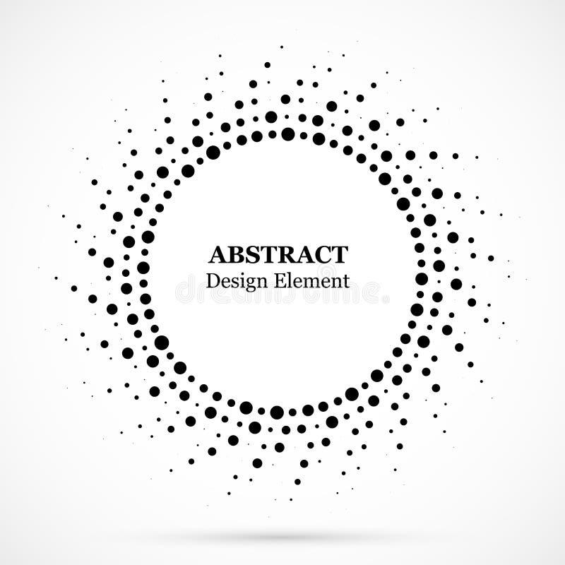 Черные абстрактные точки полутонового изображения рамки круга вектора конструируют элемент Картина вектора влияния полутонового и иллюстрация вектора