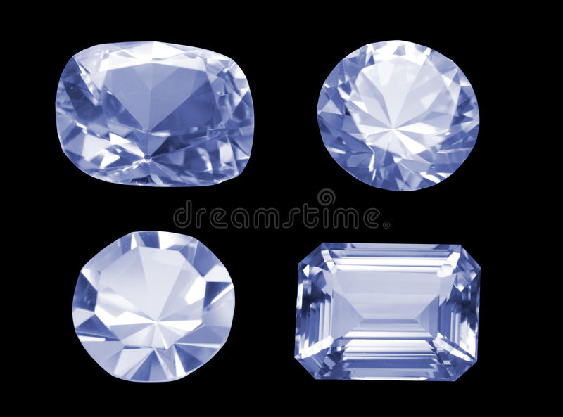 черные алмазы различные 4 изолировали над форменным стоковое фото