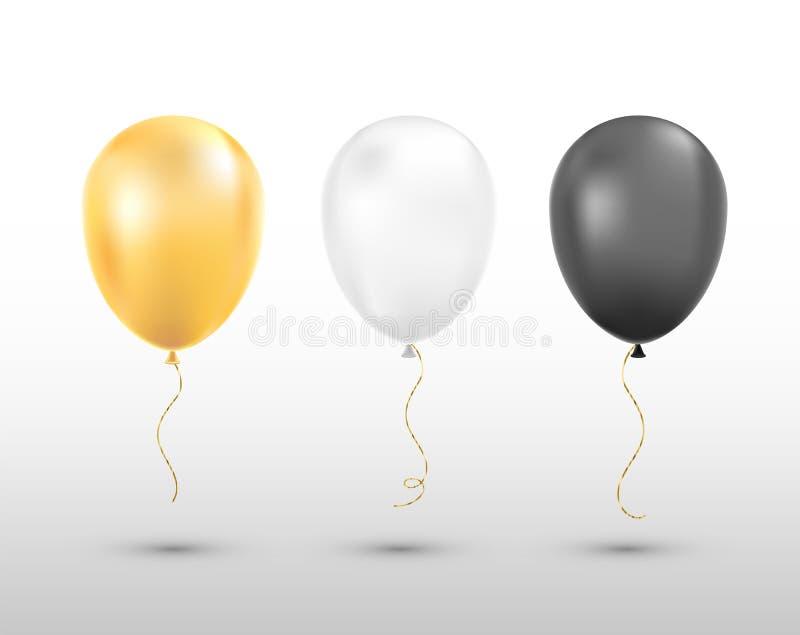 Черные, белые и золотые воздушные шары изолировали бесплатная иллюстрация