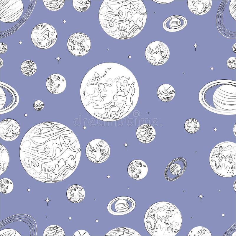 Черные белые планеты картины солнечной системы иллюстрация штока