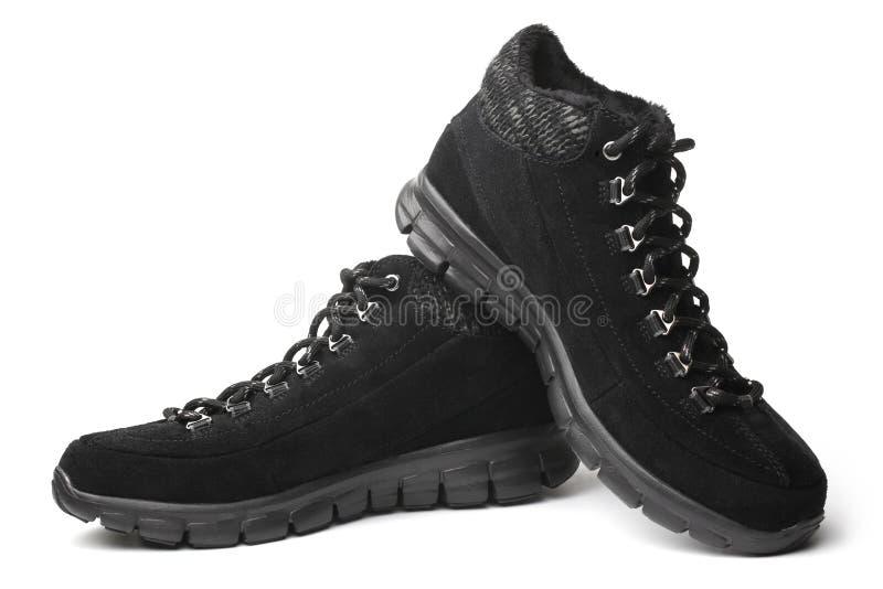 Черные ботинки замши стоковое изображение rf