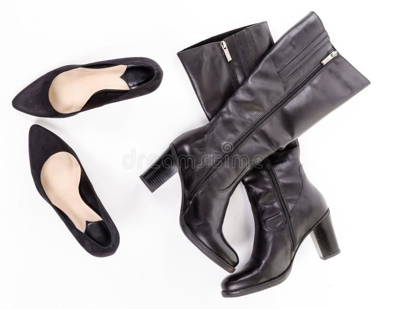 Черные ботинки и ботинки стоковое фото rf