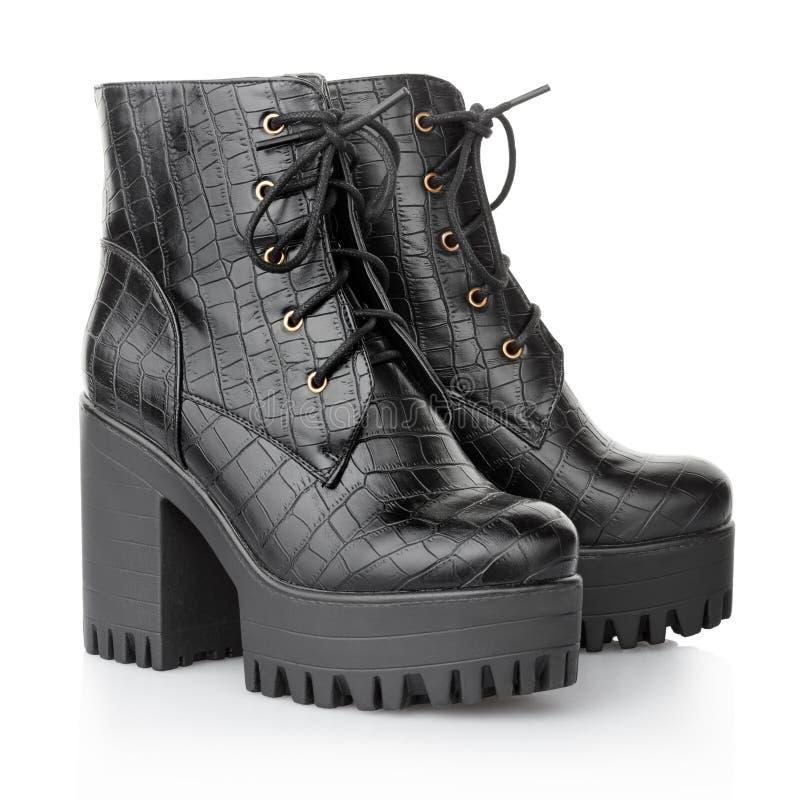 Черные ботинки крокодила высокой пятки стоковое изображение rf