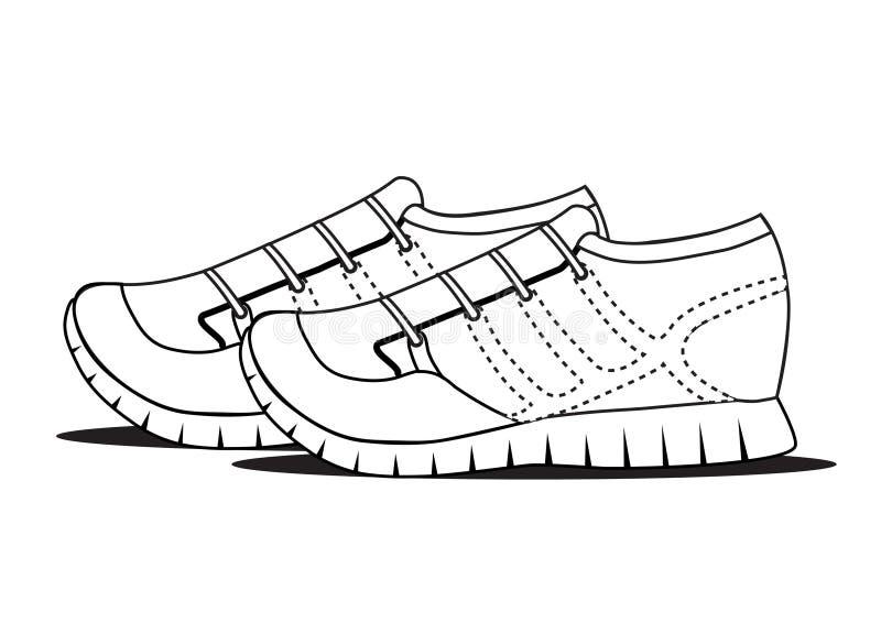 Черные ботинки плана на белой предпосылке, спорте возражают иллюстрация вектора