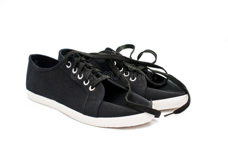 Черные ботинки спорт стоковые фотографии rf