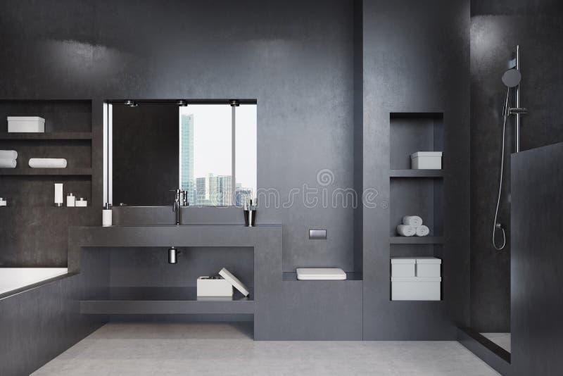 Черные ванная комната, ушат, раковина и зеркало бесплатная иллюстрация
