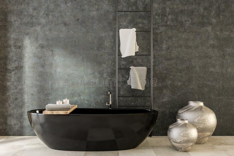 Черные ванна и вазы, роскошная ванная комната курорта иллюстрация штока