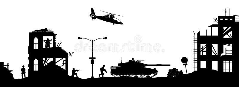Черные военные силуэты Дом штурма солдат с террористами Сцена боя в сломленном городе Панорама войны иллюстрация вектора