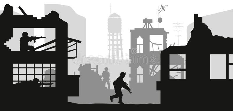 Черные военные силуэты Дом штурма солдат с террористами Сцена боя в сломленном городе Панорама войны иллюстрация штока