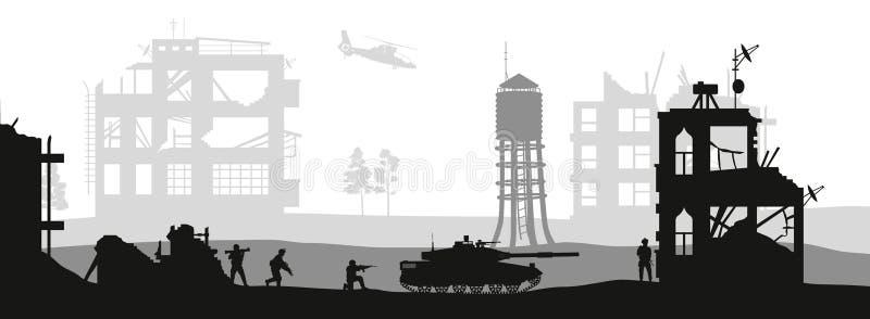 Черные военные силуэты Дом штурма солдат с террористами Сцена боя в сломленном городе Панорама войны бесплатная иллюстрация