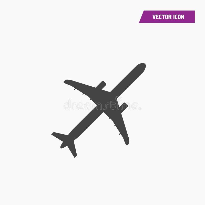 Черные воздушные судн, авиакомпании, плоский вектор значка иллюстрация штока